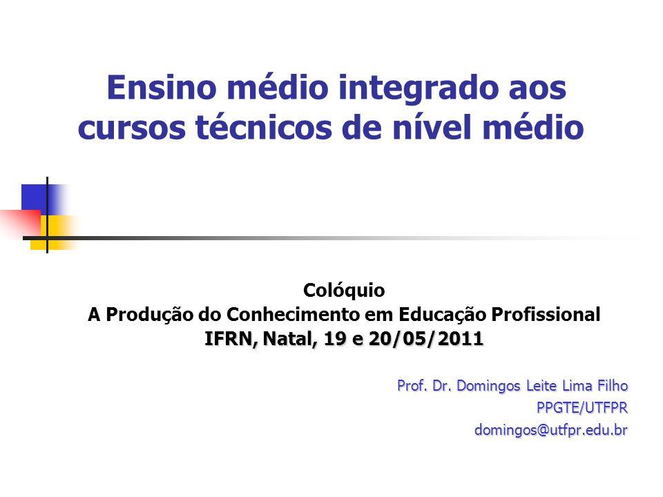 Ensino médio integrado aos cursos técnicos de nível médio Colóquio A Produção do Conhecimento em Educação Profissional IFRN, Natal, 19 e 20/05/2011 Prof.