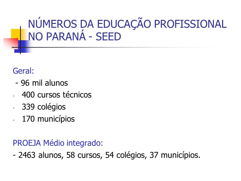 NÚMEROS DA EDUCAÇÃO PROFISSIONAL NO PARANÁ - SEED Geral: - 96 mil alunos - 400 cursos técnicos - 339 colégios - 170 municípios PROEJA Médio integrado: - 2463 alunos, 58 cursos, 54 colégios, 37 municípios.
