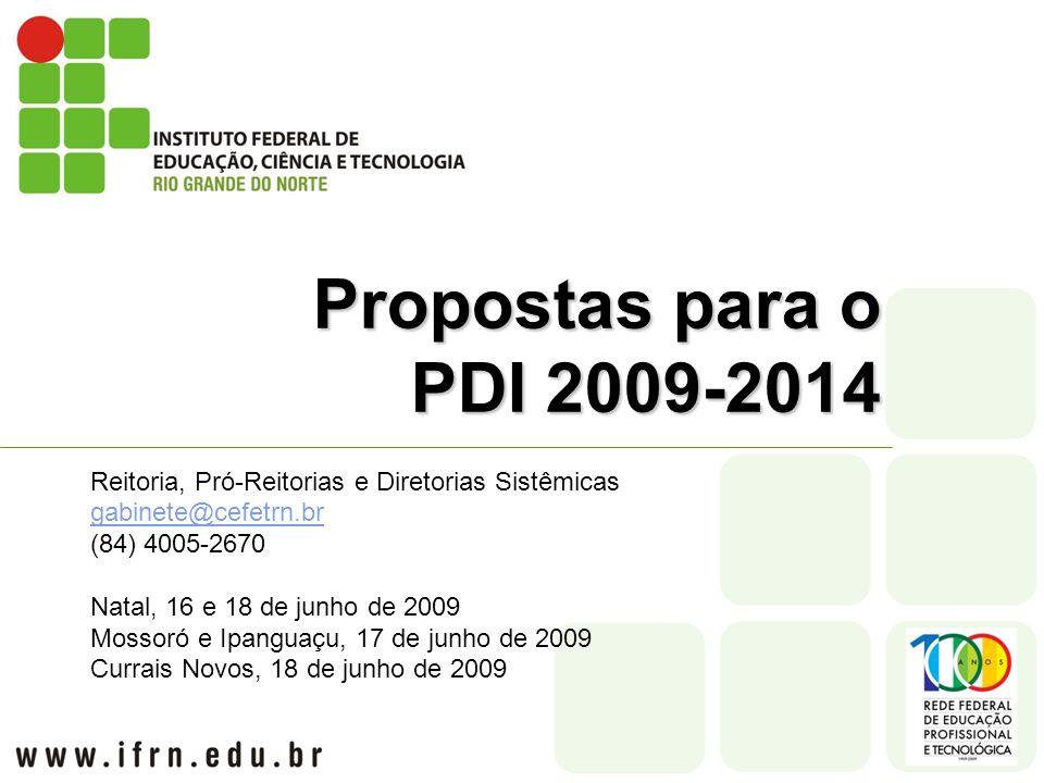 Propostas para o PDI 2009-2014 Reitoria, Pró-Reitorias e Diretorias Sistêmicas gabinete@cefetrn.br (84) 4005-2670 Natal, 16 e 18 de junho de 2009 Mossoró e Ipanguaçu, 17 de junho de 2009 Currais Novos, 18 de junho de 2009