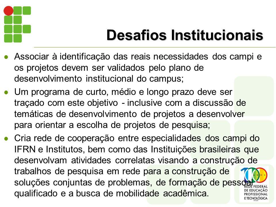 Desafios Institucionais Associar à identificação das reais necessidades dos campi e os projetos devem ser validados pelo plano de desenvolvimento institucional do campus; Um programa de curto, médio e longo prazo deve ser traçado com este objetivo - inclusive com a discussão de temáticas de desenvolvimento de projetos a desenvolver para orientar a escolha de projetos de pesquisa; Cria rede de cooperação entre especialidades dos campi do IFRN e Institutos, bem como das Instituições brasileiras que desenvolvam atividades correlatas visando a construção de trabalhos de pesquisa em rede para a construção de soluções conjuntas de problemas, de formação de pessoal qualificado e a busca de mobilidade acadêmica.