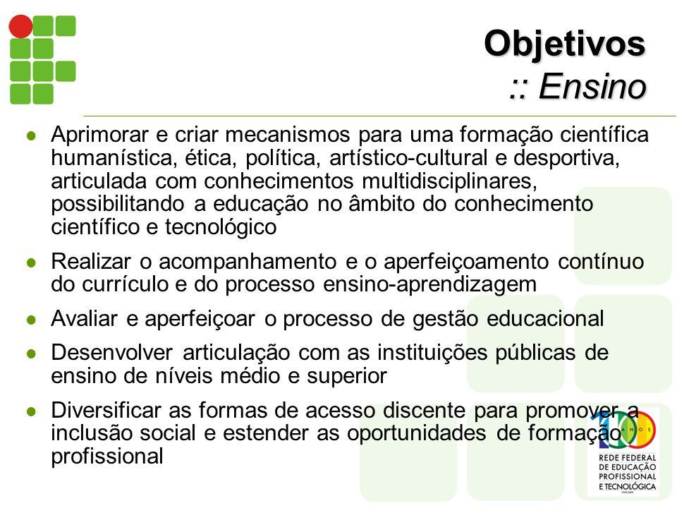 Objetivos :: Ensino Aprimorar e criar mecanismos para uma formação científica humanística, ética, política, artístico-cultural e desportiva, articulad