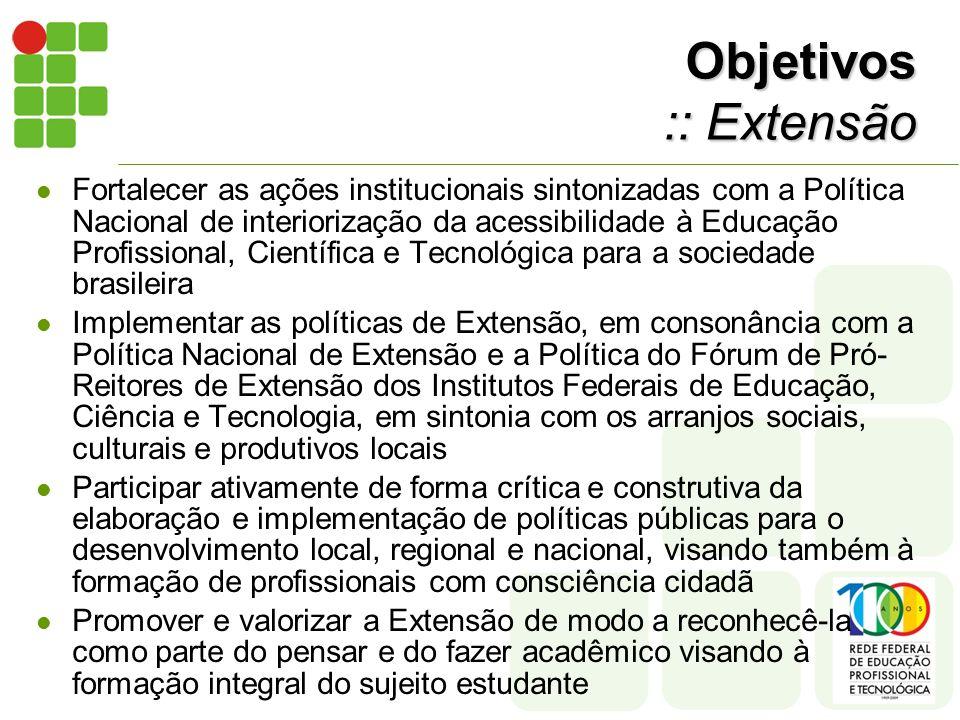 Objetivos :: Extensão Fortalecer as ações institucionais sintonizadas com a Política Nacional de interiorização da acessibilidade à Educação Profissional, Científica e Tecnológica para a sociedade brasileira Implementar as políticas de Extensão, em consonância com a Política Nacional de Extensão e a Política do Fórum de Pró- Reitores de Extensão dos Institutos Federais de Educação, Ciência e Tecnologia, em sintonia com os arranjos sociais, culturais e produtivos locais Participar ativamente de forma crítica e construtiva da elaboração e implementação de políticas públicas para o desenvolvimento local, regional e nacional, visando também à formação de profissionais com consciência cidadã Promover e valorizar a Extensão de modo a reconhecê-la como parte do pensar e do fazer acadêmico visando à formação integral do sujeito estudante