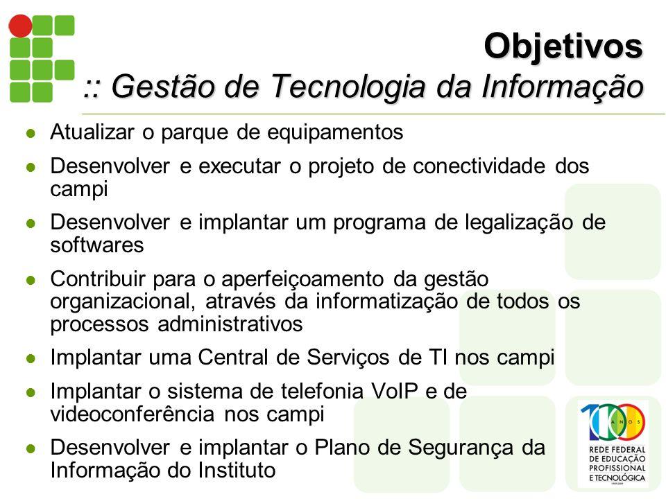 Objetivos :: Gestão de Tecnologia da Informação Atualizar o parque de equipamentos Desenvolver e executar o projeto de conectividade dos campi Desenvolver e implantar um programa de legalização de softwares Contribuir para o aperfeiçoamento da gestão organizacional, através da informatização de todos os processos administrativos Implantar uma Central de Serviços de TI nos campi Implantar o sistema de telefonia VoIP e de videoconferência nos campi Desenvolver e implantar o Plano de Segurança da Informação do Instituto