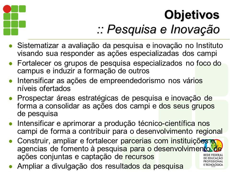 Objetivos :: Pesquisa e Inovação Sistematizar a avaliação da pesquisa e inovação no Instituto visando sua responder as ações especializadas dos campi