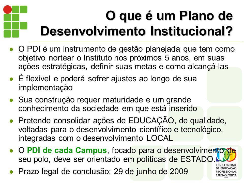 O que é um Plano de Desenvolvimento Institucional? O PDI é um instrumento de gestão planejada que tem como objetivo nortear o Instituto nos próximos 5
