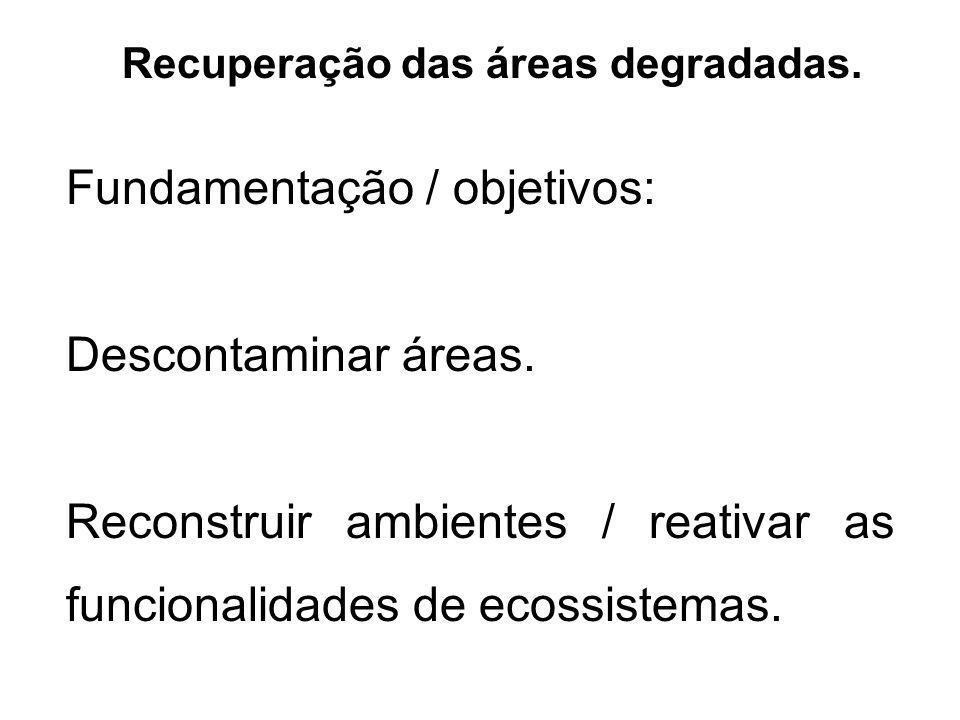 Recuperação das áreas degradadas. Fundamentação / objetivos: Descontaminar áreas. Reconstruir ambientes / reativar as funcionalidades de ecossistemas.