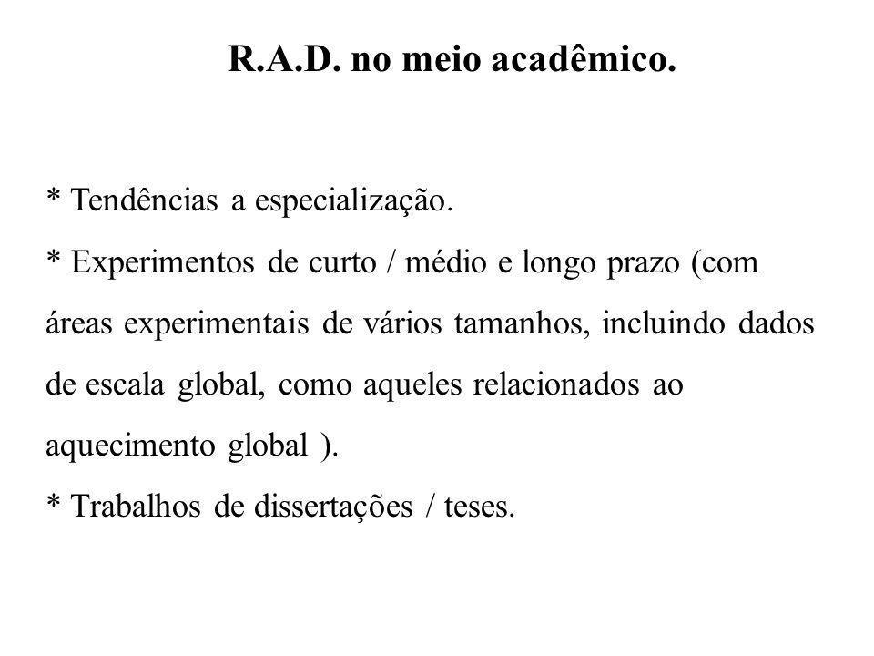 R.A.D. no meio acadêmico. * Tendências a especialização. * Experimentos de curto / médio e longo prazo (com áreas experimentais de vários tamanhos, in