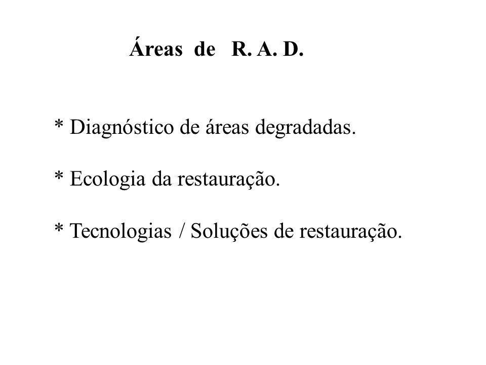 Áreas de R. A. D. * Diagnóstico de áreas degradadas. * Ecologia da restauração. * Tecnologias / Soluções de restauração.