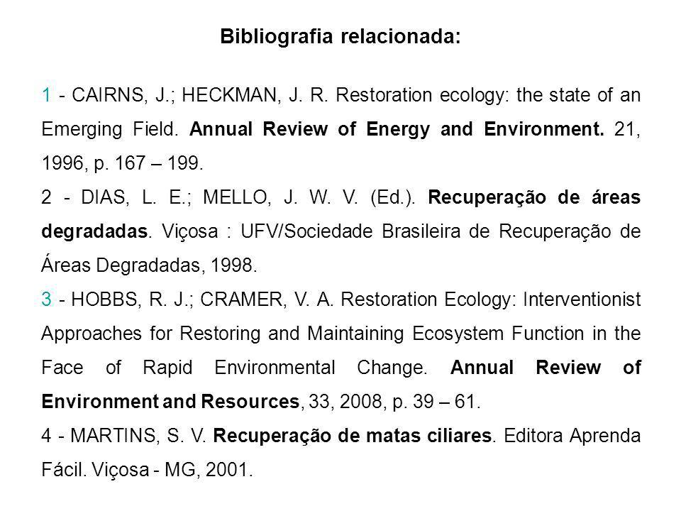 Bibliografia relacionada: 1 - CAIRNS, J.; HECKMAN, J. R. Restoration ecology: the state of an Emerging Field. Annual Review of Energy and Environment.