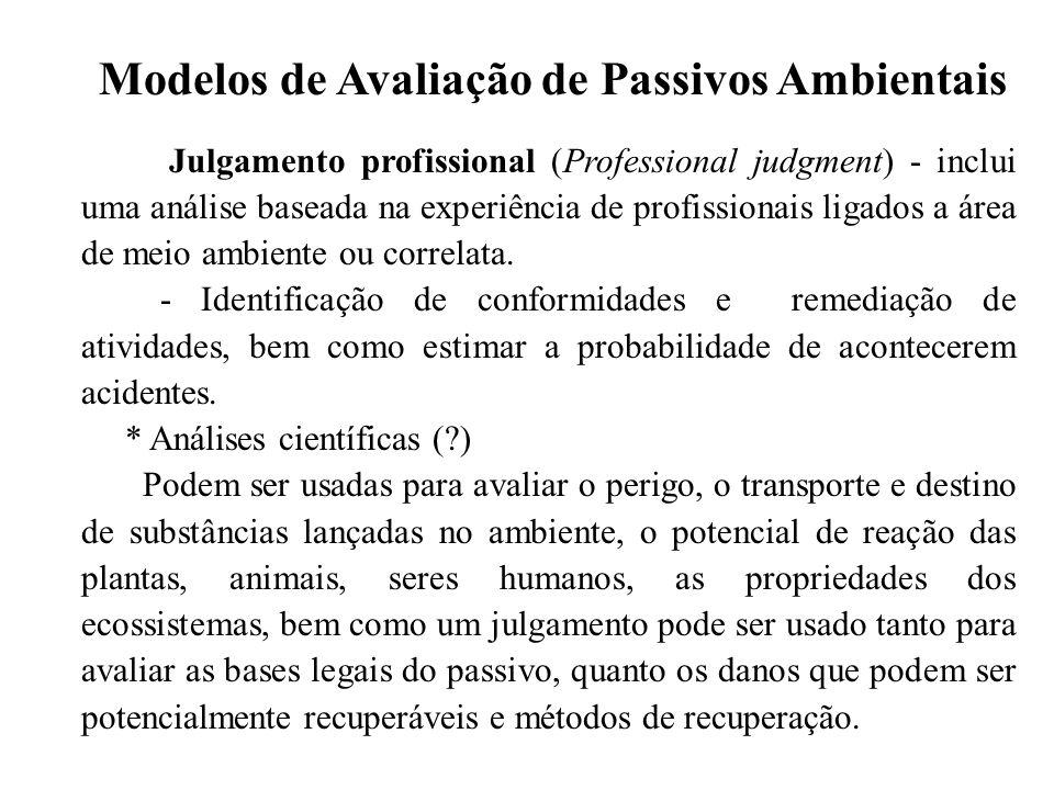 Modelos de Avaliação de Passivos Ambientais Julgamento profissional (Professional judgment) - inclui uma análise baseada na experiência de profissiona