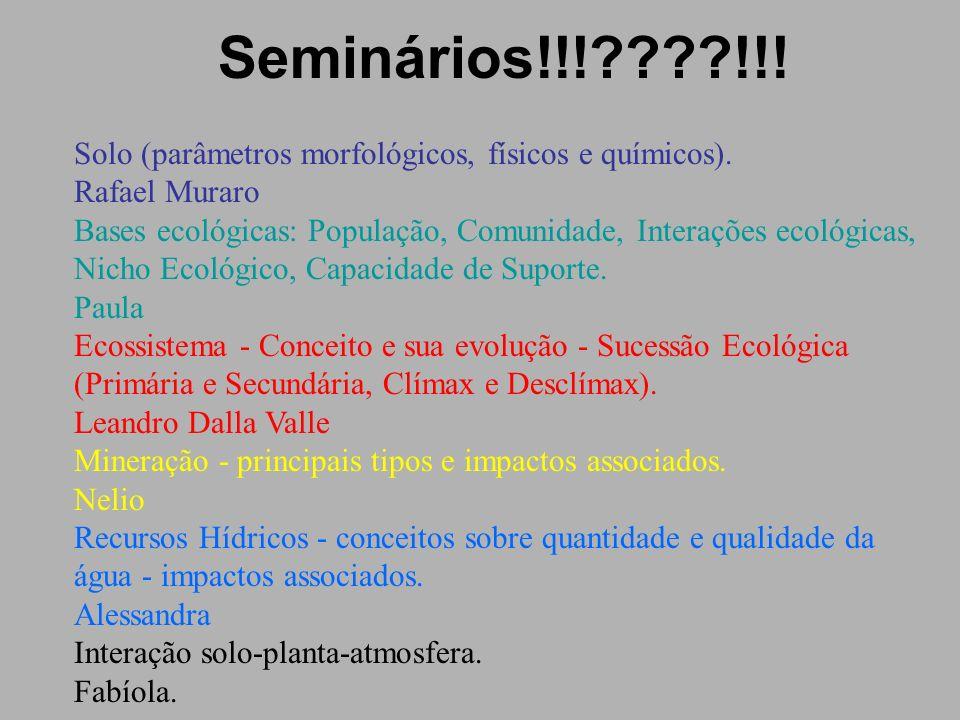 Seminários!!!????!!! Solo (parâmetros morfológicos, físicos e químicos). Rafael Muraro Bases ecológicas: População, Comunidade, Interações ecológicas,