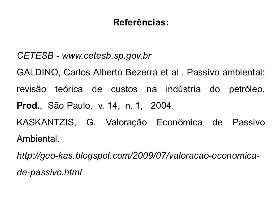 Referências: CETESB - www.cetesb.sp.gov.br GALDINO, Carlos Alberto Bezerra et al. Passivo ambiental: revisão teórica de custos na indústria do petróle