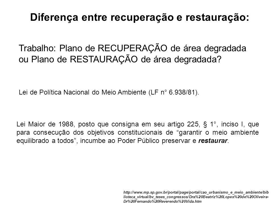 Diferença entre recuperação e restauração: http://www.mp.sp.gov.br/portal/page/portal/cao_urbanismo_e_meio_ambiente/bib lioteca_virtual/bv_teses_congr