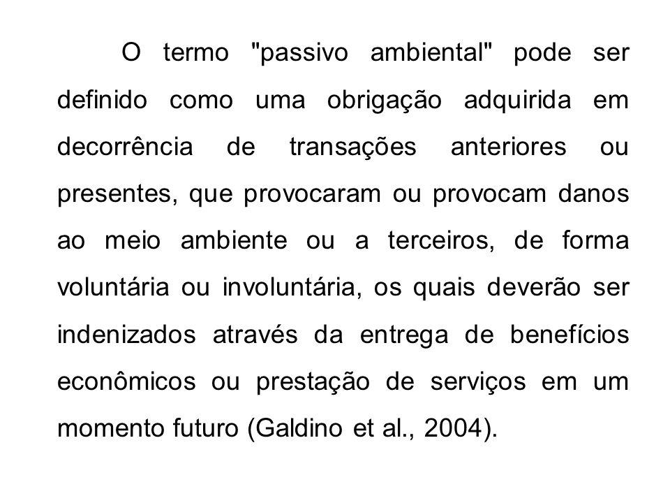 Segundo a CETESB: Passivo Ambiental: constitui o valor monetário necessário para custear a reparação do acúmulo de danos ambientais causados por um empreendimento, ao longo de sua operação.