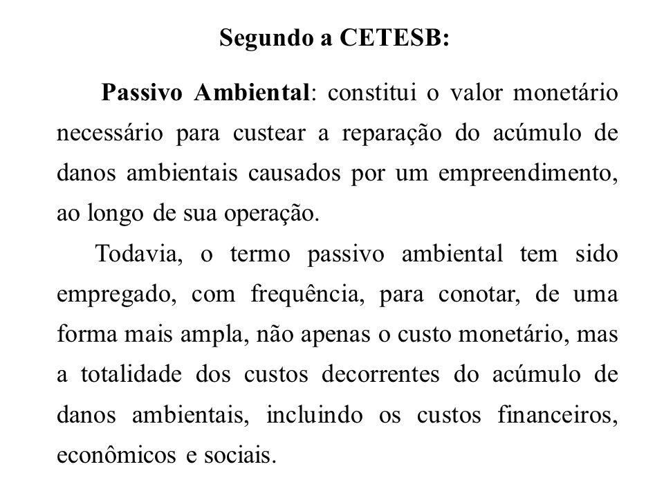 Segundo a CETESB: Passivo Ambiental: constitui o valor monetário necessário para custear a reparação do acúmulo de danos ambientais causados por um em
