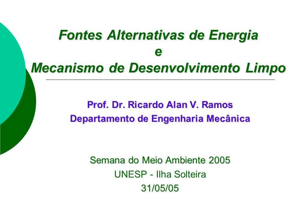 Prof. Dr. Ricardo Alan V. Ramos Departamento de Engenharia Mecânica Semana do Meio Ambiente 2005 UNESP - Ilha Solteira31/05/05 Fontes Alternativas de