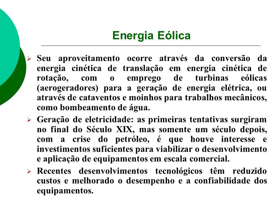 Energia Eólica Seu aproveitamento ocorre através da conversão da energia cinética de translação em energia cinética de rotação, com o emprego de turbi