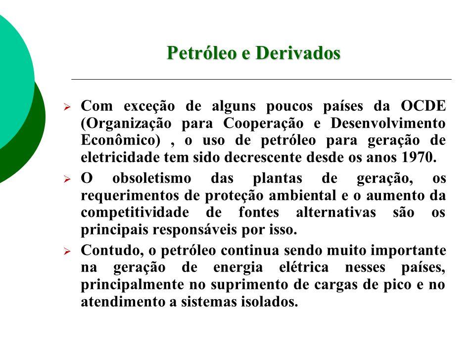 Com exceção de alguns poucos países da OCDE (Organização para Cooperação e Desenvolvimento Econômico), o uso de petróleo para geração de eletricidade