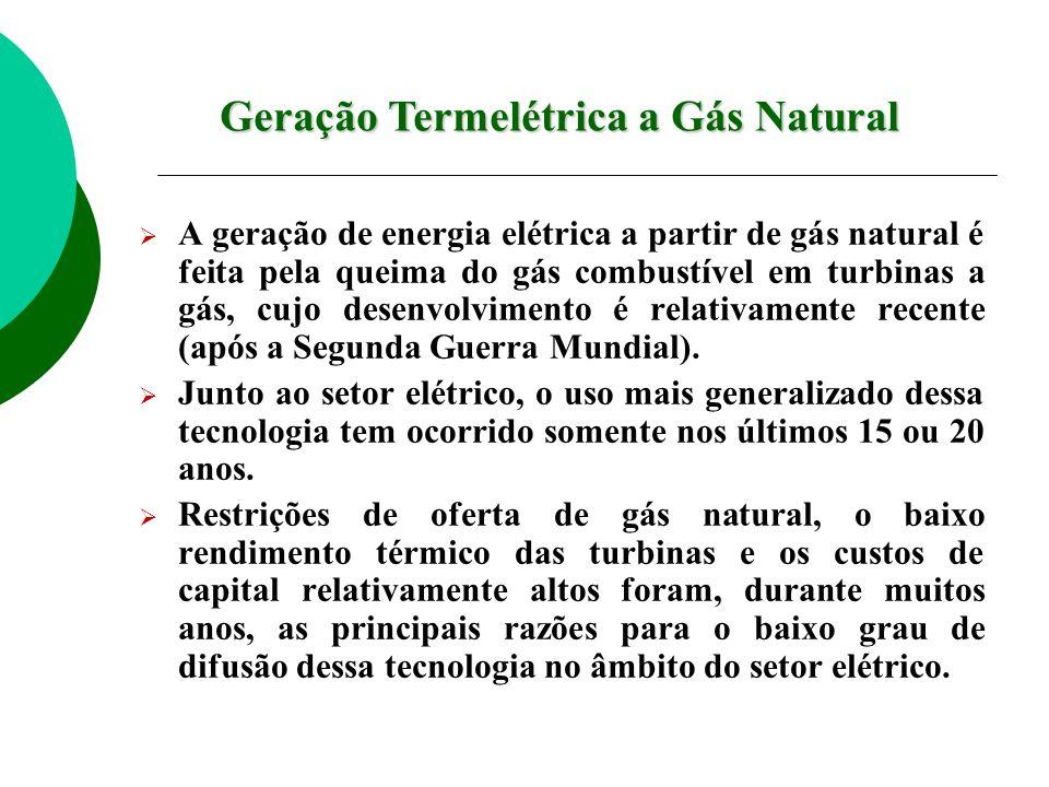A geração de energia elétrica a partir de gás natural é feita pela queima do gás combustível em turbinas a gás, cujo desenvolvimento é relativamente r