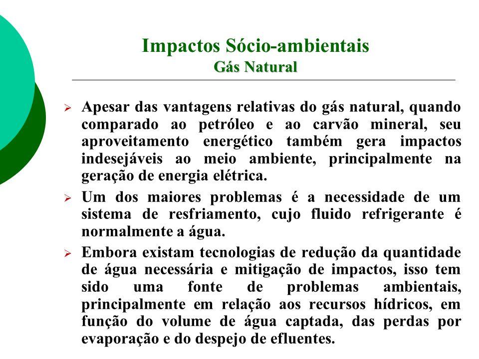 Apesar das vantagens relativas do gás natural, quando comparado ao petróleo e ao carvão mineral, seu aproveitamento energético também gera impactos in