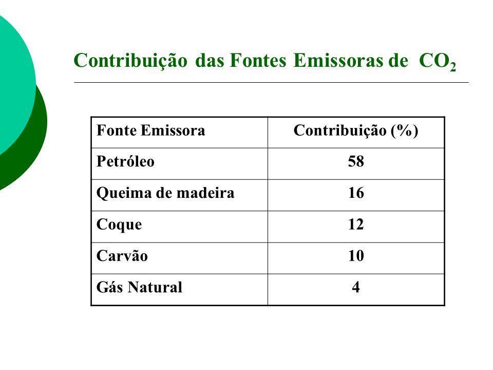 Contribuição das Fontes Emissoras de CO 2 Fonte EmissoraContribuição (%) Petróleo58 Queima de madeira16 Coque12 Carvão10 Gás Natural4
