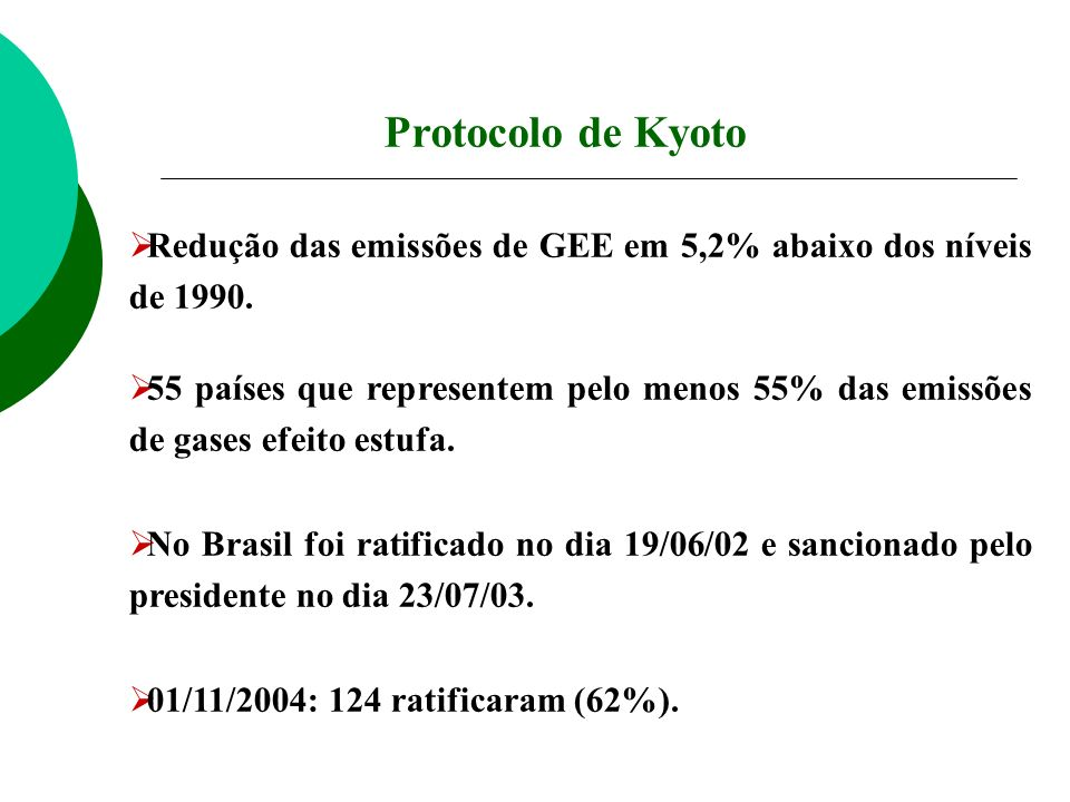 Redução das emissões de GEE em 5,2% abaixo dos níveis de 1990. 55 países que representem pelo menos 55% das emissões de gases efeito estufa. No Brasil