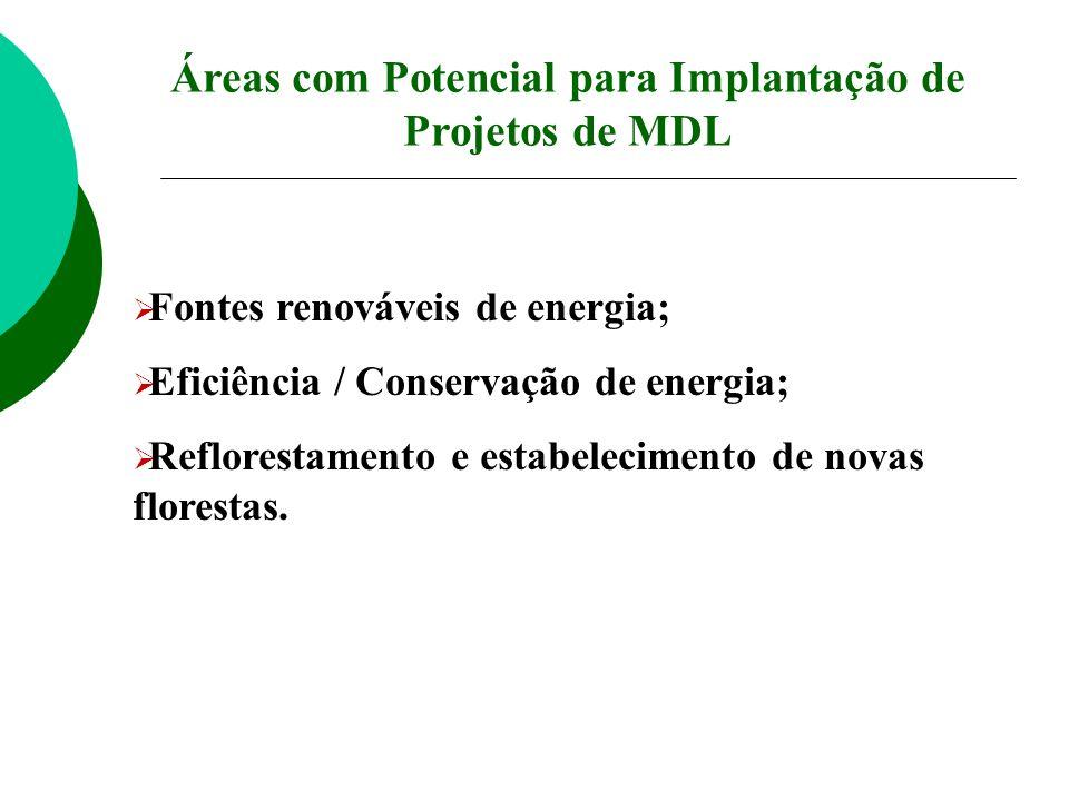 Fontes renováveis de energia; Eficiência / Conservação de energia; Reflorestamento e estabelecimento de novas florestas. Áreas com Potencial para Impl