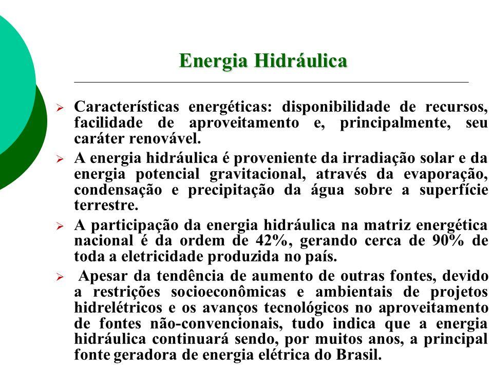 Energia Hidráulica Características energéticas: disponibilidade de recursos, facilidade de aproveitamento e, principalmente, seu caráter renovável. A