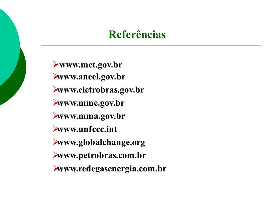 www.mct.gov.br www.aneel.gov.br www.eletrobras.gov.br www.mme.gov.br www.mma.gov.br www.unfccc.int www.globalchange.org www.petrobras.com.br www.redeg
