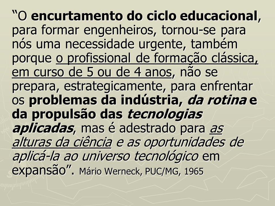 O encurtamento do ciclo educacional, para formar engenheiros, tornou se para nós uma necessidade urgente, também porque o profissional de formação clá