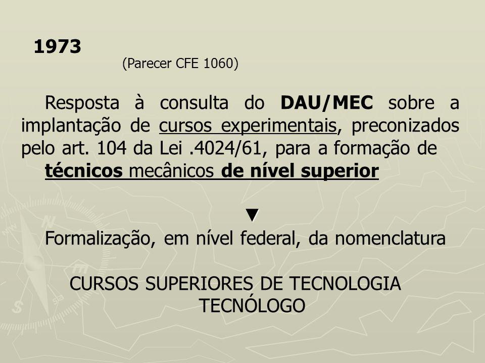 1973 (Parecer CFE 1060) Resposta à consulta do DAU/MEC sobre a implantação de cursos experimentais, preconizados pelo art. 104 da Lei.4024/61, para a