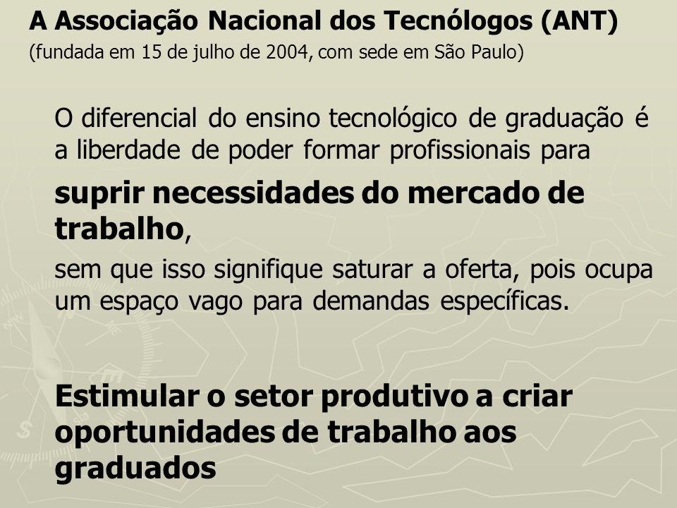 A Associação Nacional dos Tecnólogos (ANT) (fundada em 15 de julho de 2004, com sede em São Paulo) O diferencial do ensino tecnológico de graduação é