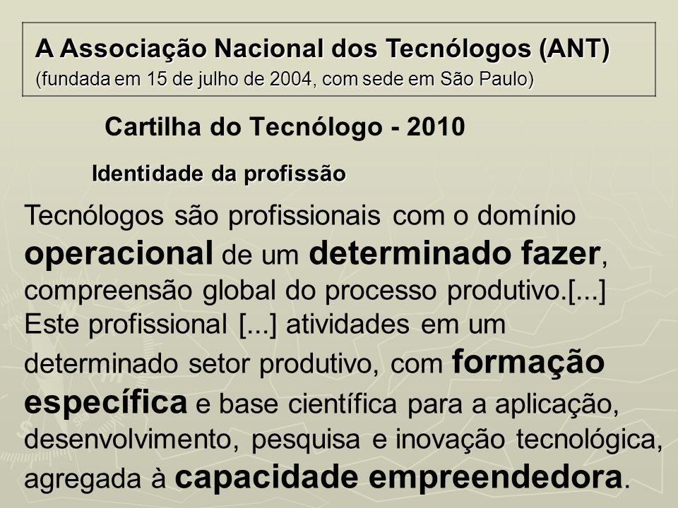Cartilha do Tecnólogo - 2010 A Associação Nacional dos Tecnólogos (ANT) (fundada em 15 de julho de 2004, com sede em São Paulo) Identidade da profissã