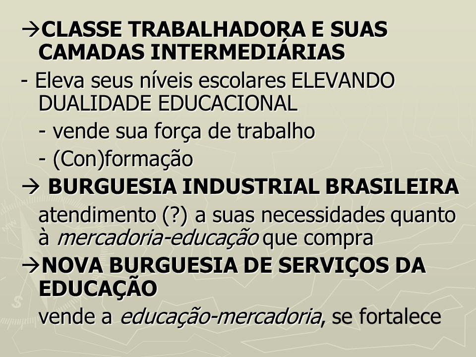 CLASSE TRABALHADORA E SUAS CAMADAS INTERMEDIÁRIAS CLASSE TRABALHADORA E SUAS CAMADAS INTERMEDIÁRIAS - Eleva seus níveis escolares ELEVANDO DUALIDADE E