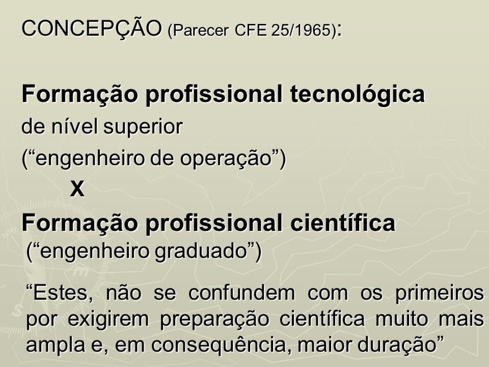CONCEPÇÃO (Parecer CFE 25/1965) : Formação profissional tecnológica de nível superior (engenheiro de operação) X Formação profissional científica (eng