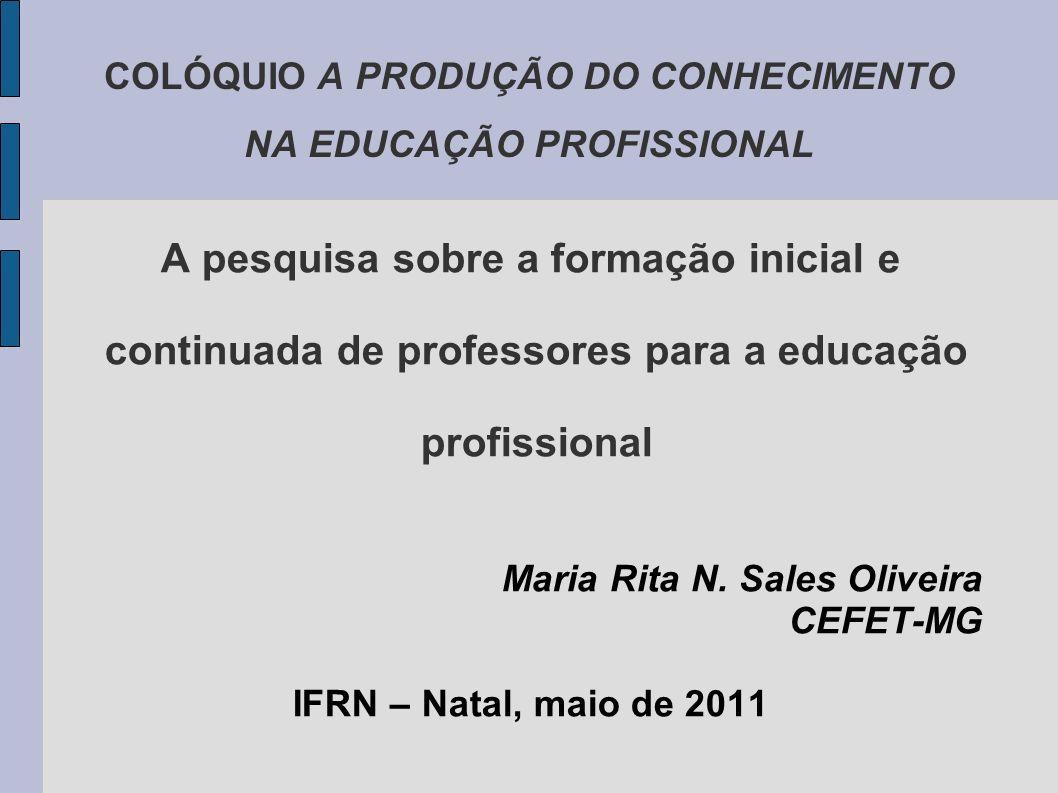 COLÓQUIO A PRODUÇÃO DO CONHECIMENTO NA EDUCAÇÃO PROFISSIONAL A pesquisa sobre a formação inicial e continuada de professores para a educação profissional Maria Rita N.