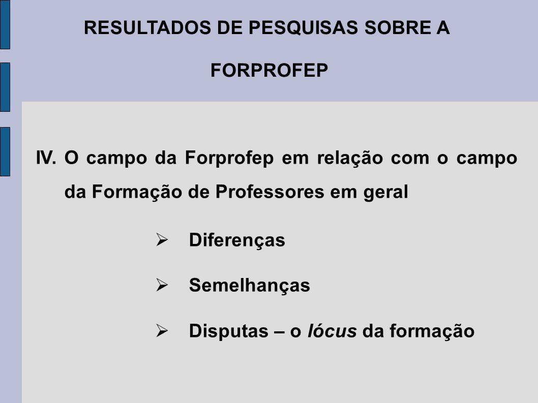 RESULTADOS DE PESQUISAS SOBRE A FORPROFEP IV. O campo da Forprofep em relação com o campo da Formação de Professores em geral Diferenças Semelhanças D