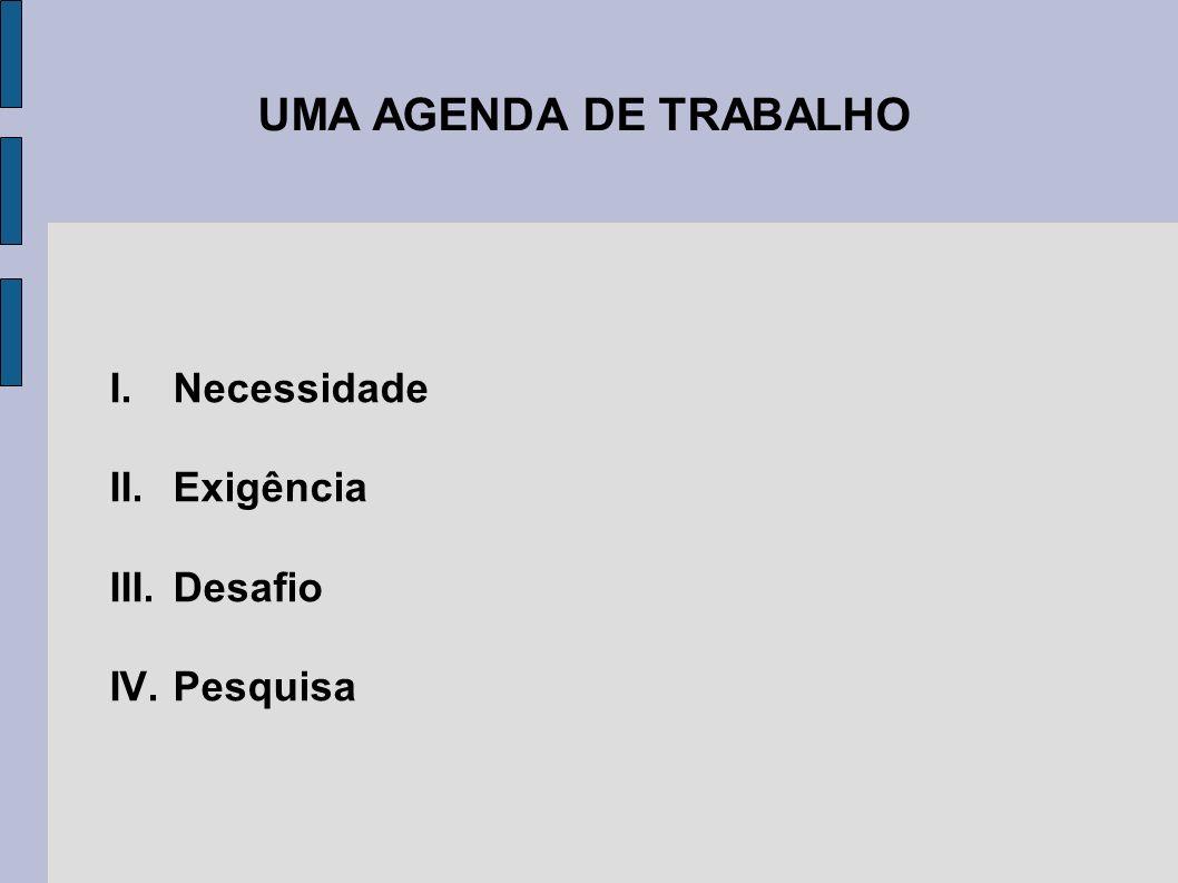 UMA AGENDA DE TRABALHO I.Necessidade II.Exigência III.Desafio IV.Pesquisa