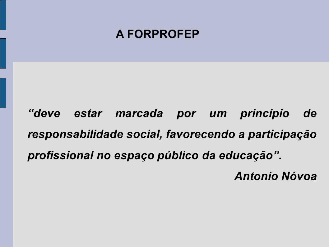 deve estar marcada por um princípio de responsabilidade social, favorecendo a participação profissional no espaço público da educação. Antonio Nóvoa A