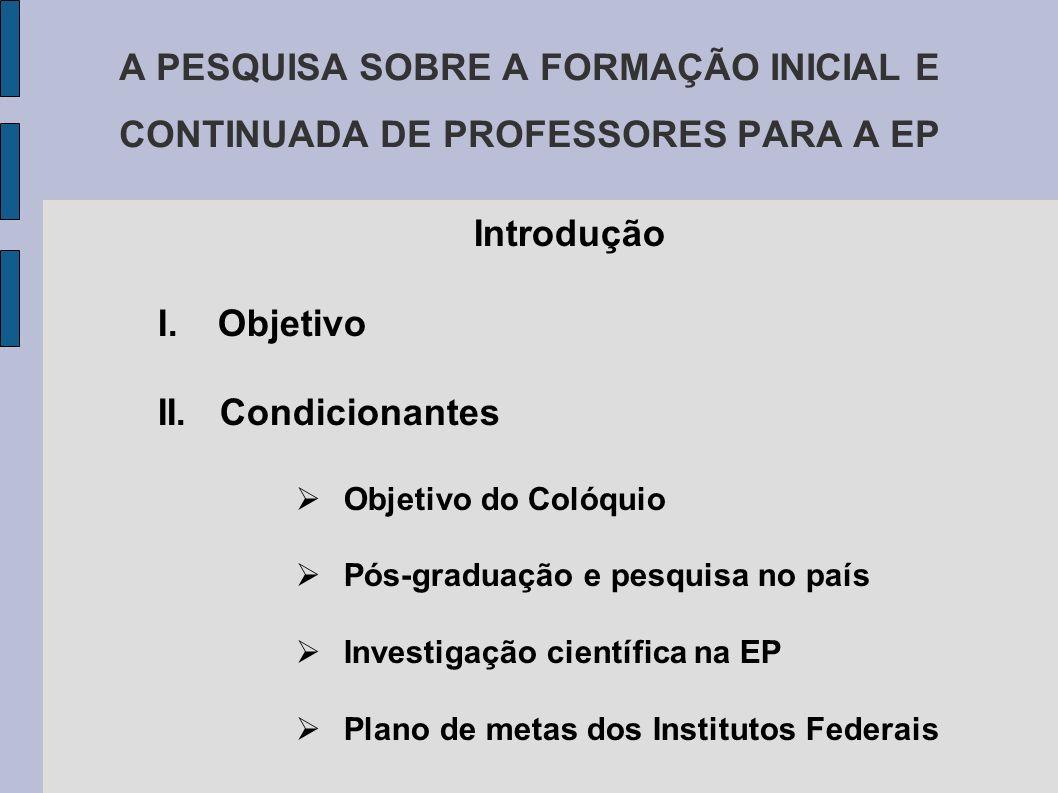 A PESQUISA SOBRE A FORMAÇÃO INICIAL E CONTINUADA DE PROFESSORES PARA A EP Introdução I.Objetivo II.