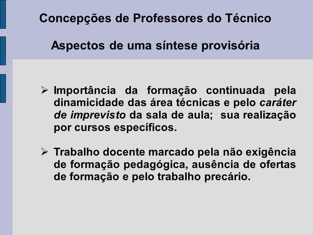 Concepções de Professores do Técnico Aspectos de uma síntese provisória Importância da formação continuada pela dinamicidade das área técnicas e pelo