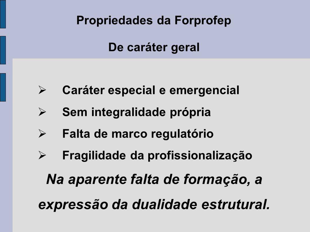 Propriedades da Forprofep De caráter geral Caráter especial e emergencial Sem integralidade própria Falta de marco regulatório Fragilidade da profissi