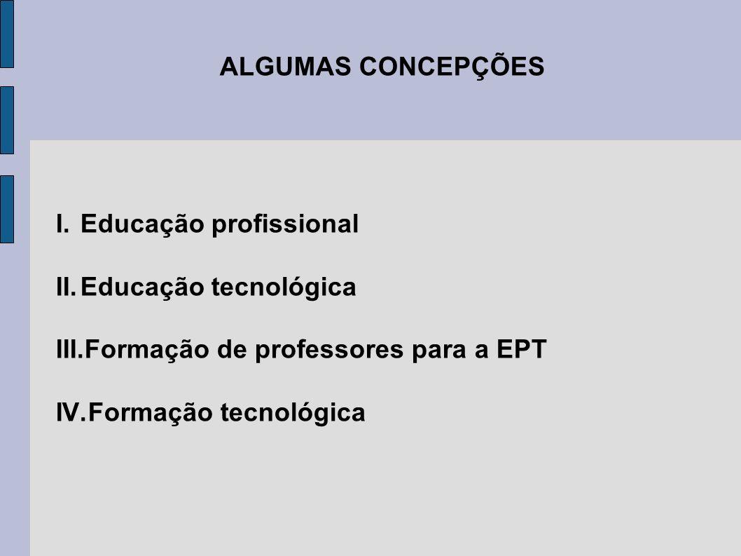 ALGUMAS CONCEPÇÕES I.Educação profissional II.Educação tecnológica III.Formação de professores para a EPT IV.Formação tecnológica
