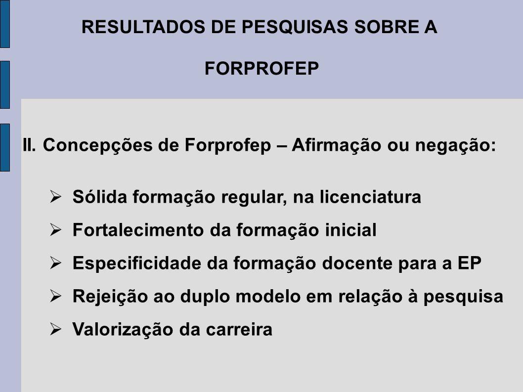RESULTADOS DE PESQUISAS SOBRE A FORPROFEP II. Concepções de Forprofep – Afirmação ou negação: Sólida formação regular, na licenciatura Fortalecimento