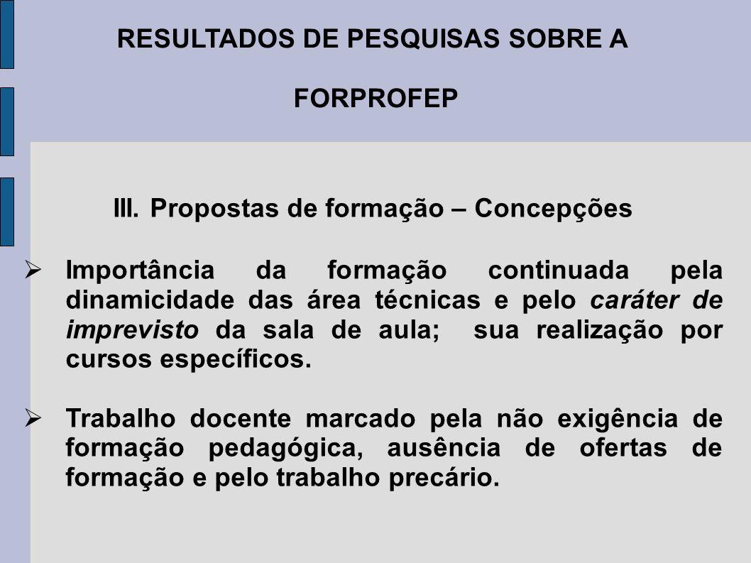 RESULTADOS DE PESQUISAS SOBRE A FORPROFEP III. Propostas de formação – Concepções Importância da formação continuada pela dinamicidade das área técnic