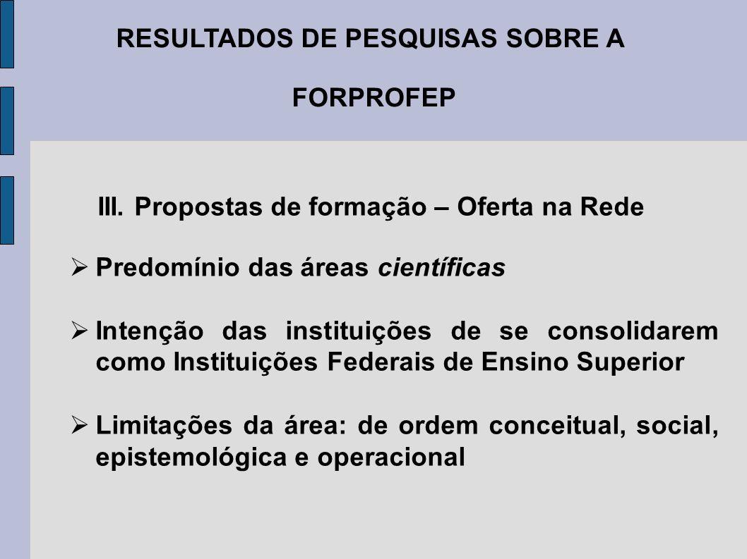 RESULTADOS DE PESQUISAS SOBRE A FORPROFEP III. Propostas de formação – Oferta na Rede Predomínio das áreas científicas Intenção das instituições de se