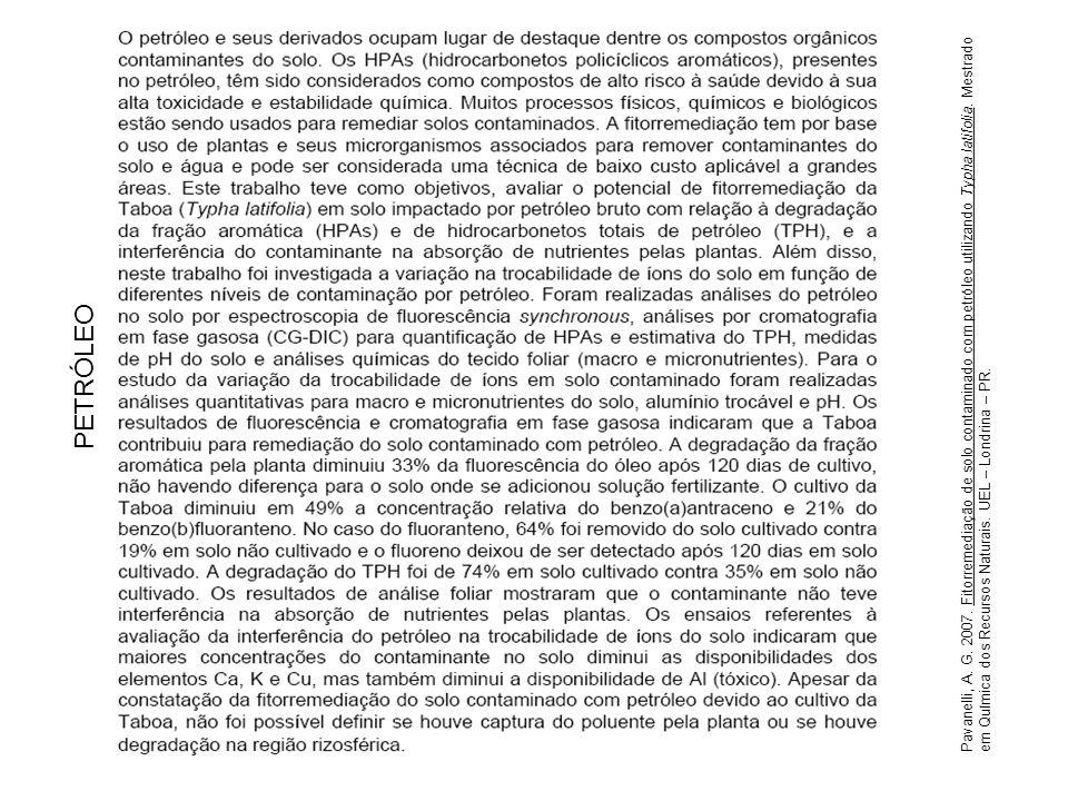 Pavanelli, A. G. 2007. Fitorremediação de solo contaminado com petróleo utilizando Typha latifolia. Mestrado em Química dos Recursos Naturais. UEL – L