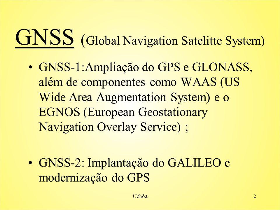 Uchôa2 GNSS ( Global Navigation Satelitte System) GNSS-1:Ampliação do GPS e GLONASS, além de componentes como WAAS (US Wide Area Augmentation System) e o EGNOS (European Geostationary Navigation Overlay Service) ; GNSS-2: Implantação do GALILEO e modernização do GPS