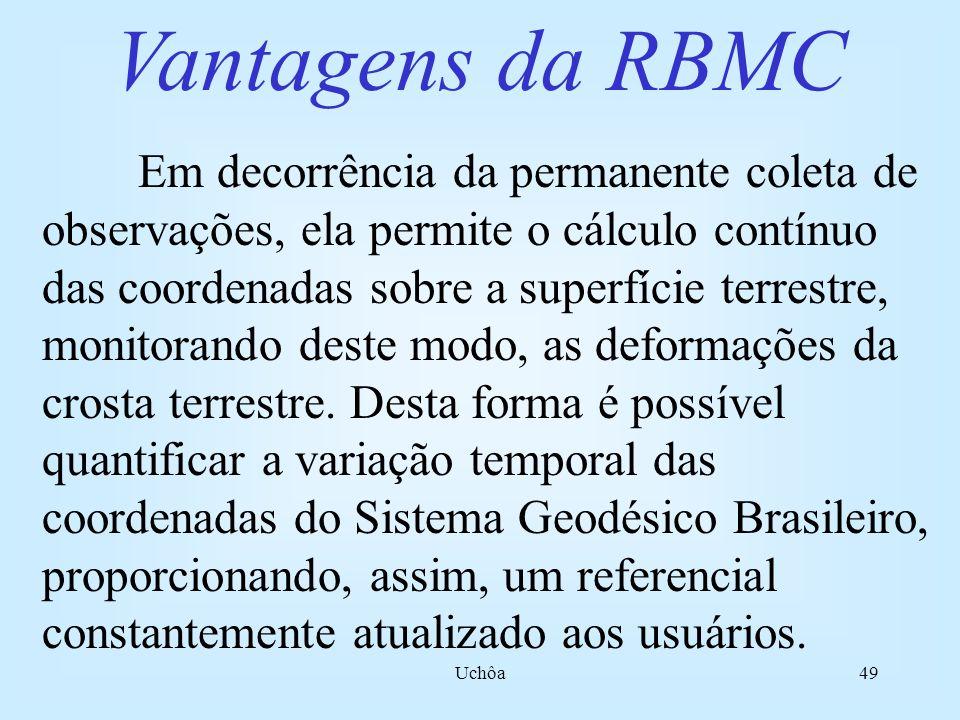 Uchôa48 A RBMC (Rede Brasileira de Monitoramento Contínuo) É uma rede de estações GPS permanentes composta por 14 estações operadas diretamente pelo IBGE e 1 estação operada pelo INPE, sendo portanto, uma ferramenta suporte para utilização da tecnologia GPS no Brasil e o principal elo de ligação com os sistemas de referência internacionais.
