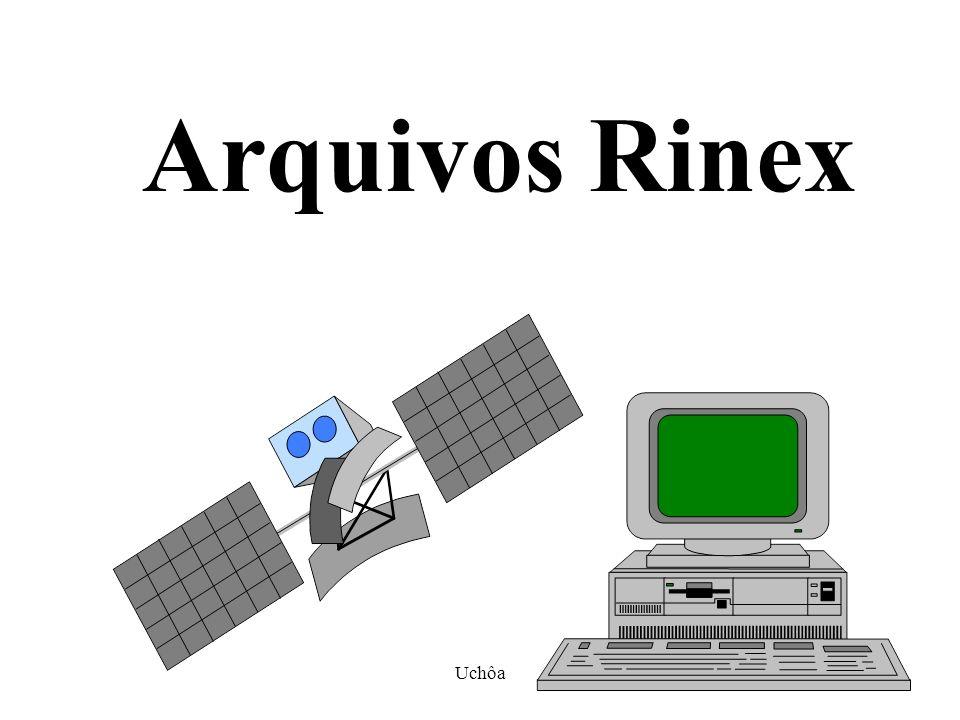 Uchôa63 O formato RINEX Arquivos com nomes idêntico e extensões diferentes com as seguintes características: NOME (4 CARACTERES); DIA GPS (3 CARACTERES NUMÉRICOS); SEÇÃO DE OBSERVAÇÃO (1 CARACTER NUMÉRICO); ANO GPS (DOIS DÍGITOS NUMÉRICOS); TIPO DE ARQUIVO (1 CARACTERER ALFANUMÉRICO, N(NAVEGAÇÃO) E O(OBSERVAÇÃO); EX: MANA3391.01N MANA3391.01O